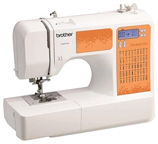 Швейная машина Brother ModerN 50EШвейные машины<br>Компьютеризированная швейная машина Brother ModerN 50e – это настоящая находка для начинающей швеи и опытной портнихи. Ведь данная модель предусматривает огромнейший спектр функциональных возможностей, а именно, выполнение 50 операций &amp;#40;эластичные, классические прямые, оверлочные, невидимые/потайные, пэчворкские, квилтинговые, декоративные строчки, штопка, аппликационная и художественная отделка изделий и т.д.&amp;#41;, выметывание 9 видов петлей-автомат.<br><br>В Brother ModerN 50e мощностью 42 Вт и весом 6 кг имеется монохромный ЖК-дисплей, который отображает полезные...<br><br>Тип: электронная<br>Тип челнока: ротационный горизонтальный<br>Вышивальный блок: нет<br>Количество швейных операций: 50<br>Выполнение петли: автомат<br>Число петель: 5<br>Максимальная длина стежка: 5.0 мм<br>Максимальная ширина стежка: 7.0 мм<br>Потайная строчка : есть<br>Эластичная строчка : есть