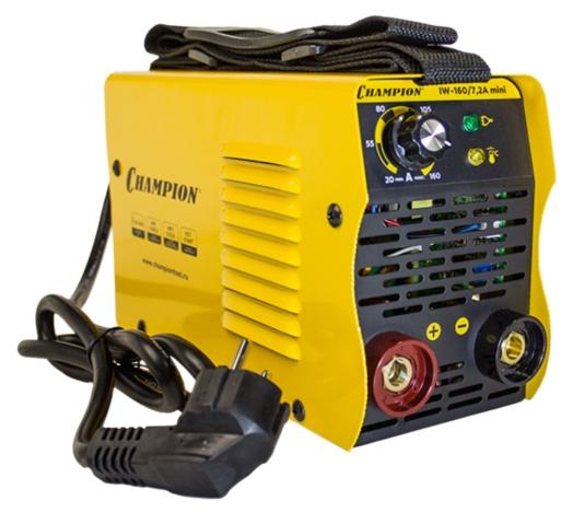 Сварочный аппарат Champion IW-160/7,2A miniСварочные аппараты<br>Champion IW-160/7,2A mini – простой в эксплуатации и очень удобный сварочный инвертор, предназначенный для использования при создании прочных неразъемных металлических конструкций.<br><br>Обеспечивает высокое качество сварочных швов при работе в сети с напряжением от 160 до 250 В.<br><br>Максимальный диаметр используемого электрода составляет 4,0 мм, максимальный ток – 160 А, класс защиты – IP21S.<br><br>Аппарат оснащен 3-мя функциями: HOT START &amp;#40;зажигание дуги&amp;#41;, ARC FORCE &amp;#40;форсирование дуги&amp;#41; и ANTI STICK &amp;#40;антиприлипание электрода&amp;#41;.<br><br>На удобной панели управления расположены: регулятор...<br><br>Тип: сварочный инвертор<br>Сварочный ток (MMA): 30-160 А<br>Напряжение на входе: 160-250 В<br>Количество фаз питания: 1<br>Напряжение холостого хода: 60 В<br>Тип выходного тока: постоянный<br>Мощность, кВт: 7.20<br>Продолжительность включения при максимальном токе: 60 %<br>Диаметр электрода: 2-4 мм<br>Класс изоляции: F
