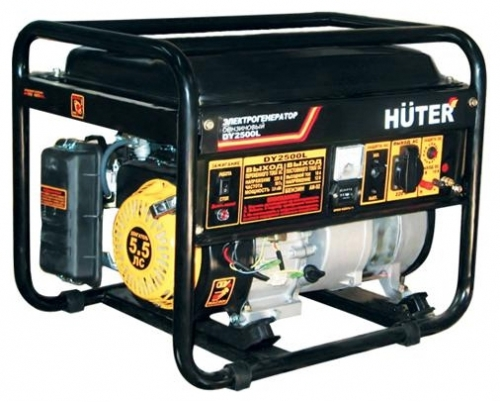 Электрогенератор Huter DY2500LЭлектрогенераторы<br>- Для своих габаритов и веса агрегат обладает хорошими показателями по мощности и производительности.<br>- Надежный двигатель, благодаря эффективной принудительной системе воздушного охлаждения, датчику аварийного уровня масла и экономному расходу топлива, обеспечивает длительную безостановочную работу генератора.<br>- Емкость топливного бака &amp;#40;12 литров&amp;#41; дает возможность работать без дозаправки на протяжении около 10 часов.<br>- Работающая защита от короткого замыкания и перегрузок не допустит аварийного выхода агрегата из строя.<br>- Подпружиненная...<br><br>Тип электростанции: бензиновая<br>Тип запуска: ручной<br>Число фаз: 1 (220 вольт)<br>Объем двигателя: 163 куб.см<br>Мощность двигателя: 5.5 л.с.<br>Тип охлаждения: воздушное<br>Расход топлива: 1 л/ч<br>Объем бака: 12 л<br>Активная мощность, Вт: 2000<br>Защита от перегрузок: есть