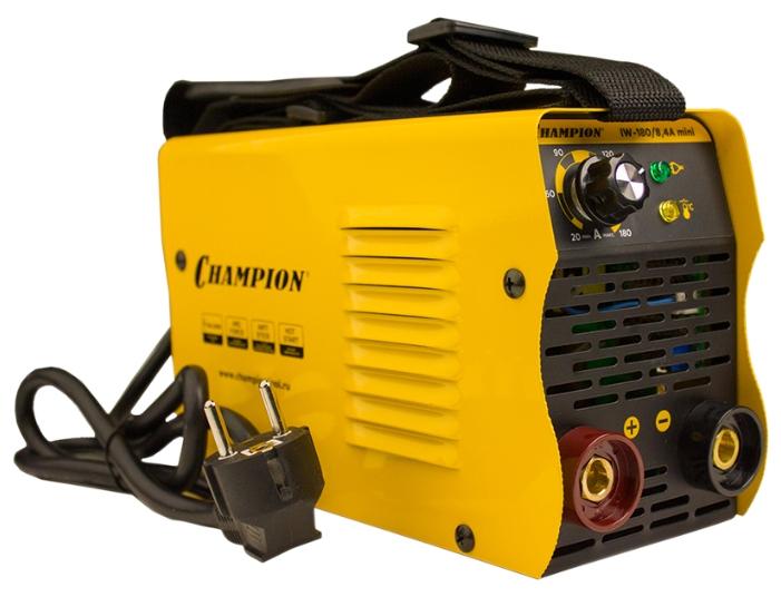 Сварочный аппарат Champion IW-180/8,4A miniСварочные аппараты<br>Champion IW-180/8,4A mini – простой в эксплуатации и очень удобный сварочный инвертор, предназначенный для использования при создании прочных неразъемных металлических конструкций.<br><br>Обеспечивает высокое качество сварочных швов при работе в сети с напряжением от 160 до 250 В.<br><br>Максимальный диаметр используемого электрода составляет 4,0 мм, максимальный ток – 180 А, класс защиты – IP21S.<br><br>Аппарат оснащен 3-мя функциями: HOT START &amp;#40;зажигание дуги&amp;#41;, ARC FORCE &amp;#40;форсирование дуги&amp;#41; и ANTI STICK &amp;#40;антиприлипание электрода&amp;#41;.<br><br>На удобной панели управления расположены: регулятор...<br><br>Тип: сварочный инвертор<br>Сварочный ток (MMA): 30-180 А<br>Напряжение на входе: 160-250 В<br>Количество фаз питания: 1<br>Напряжение холостого хода: 60 В<br>Тип выходного тока: постоянный<br>Мощность, кВт: 8.40<br>Продолжительность включения при максимальном токе: 30 %<br>Диаметр электрода: 2-4 мм<br>Антиприлипание: есть