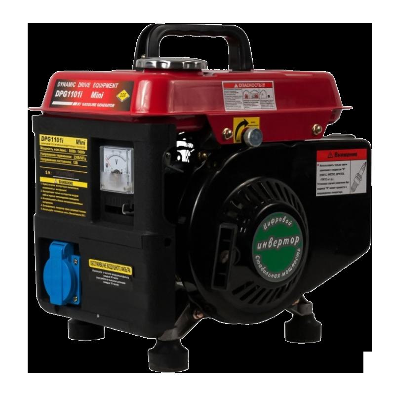 Электрогенератор DDE DPG1101iЭлектрогенераторы<br><br><br>Тип электростанции: бензиновая, инверторная<br>Тип запуска: ручной<br>Число фаз: 1 (220 вольт)<br>Объем двигателя: 63 куб.см<br>Мощность двигателя: 2 л.с.<br>Тип охлаждения: воздушное<br>Объем бака: 2.6 л<br>Активная мощность, Вт: 8000<br>Описание: выход 12В (опция)