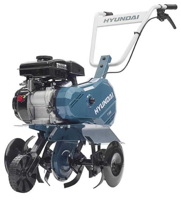 Культиватор Hyundai Т 500Мотоблоки и культиваторы<br><br><br>Тип: культиватор<br>Объем топливного бака: 1.6 л<br>Ширина обработки почвы: 55 см<br>Тип двигателя: бензиновый, четырехтактный<br>Производитель и модель двигателя: Hyundai IC 90<br>Объем двигателя: 87 куб. см<br>Мощность двигателя: 3.50 л.с. при 3600 об/мин<br>Тип коробки передач: одноступенчатая<br>Тип редуктора: цепной<br>Количество передач: 1 вперед