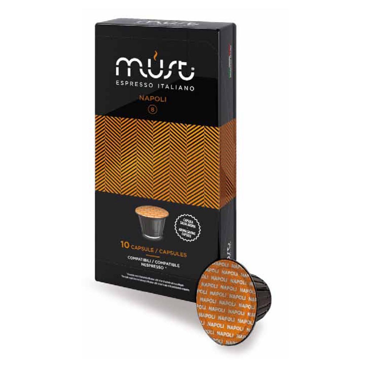 Кофе в капсулах MUST Napoli 10шт NespressoКофе, какао<br><br><br>Тип: кофе в капсулах<br>Дополнительно: Крепкий, ни с чем не сравнимый сливочный вкус истинного эспрессо наполетано. Неповторимое сочетание африканского и бразильского кофе. Этот сорт кофе имеет насыщенный аромат и плотную нежную пенку.