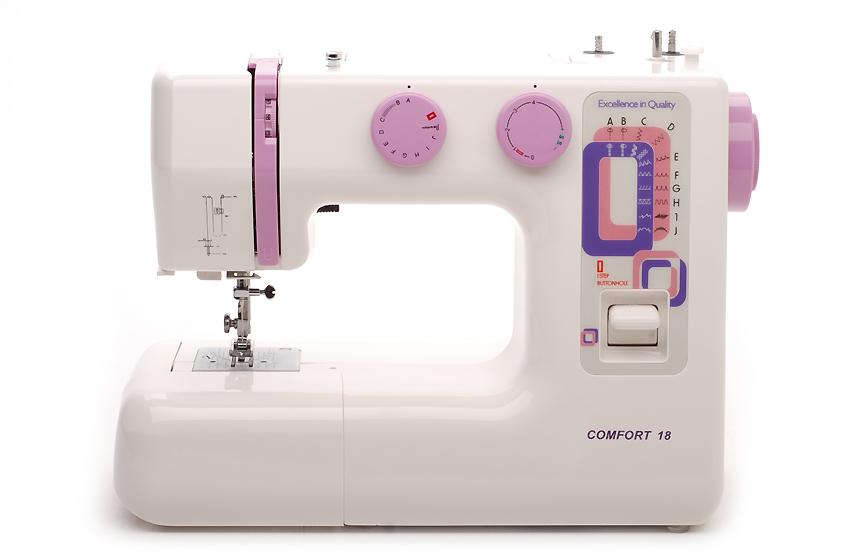 Швейная машина Comfort 18Швейные машины<br>Comfort 18 – очень компактная и удобная в использовании швейная машинка. Она подойдёт как начинающим швеям, так и более опытным любителям, которые занимаются домашним ремонтом и пошивом одежды. 18 швейных операций вполне хватит как для обучения, так и для домашней швейной работы.<br>Швейная машина Comfort 18 оснащена функцией выполнения петли в автоматическом режиме, что значительно упрощает процедуру пришивания пуговиц. Плавная регулировка скорости в свою очередь делает обработку сложных фрагментов изделий более аккуратной.<br>