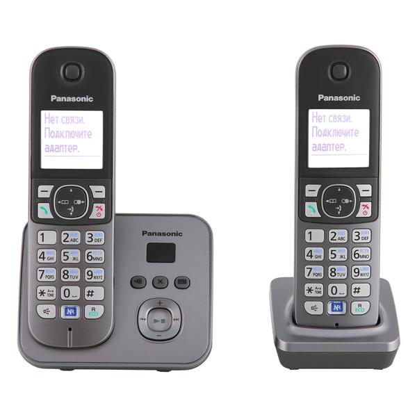 Радиотелефон Panasonic KX-TG6822RUMРадиотелефон Dect<br><br><br>Тип: Радиотелефон<br>Количество трубок: 2<br>Рабочая частота: 1880-1900 МГц<br>Стандарт: DECT/GAP<br>Возможность набора на базе: Нет<br>Проводная трубка на базе : Нет<br>Время работы трубки (режим разг. / режим ожид.): 15 / 170<br>Полифонические мелодии: 40<br>Дисплей: на трубке, 2 строки<br>Подсветка кнопок на трубке: Есть
