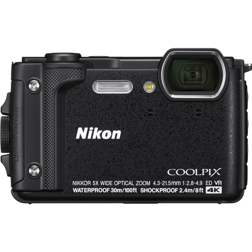 Цифровой фотоаппарат Nikon Coolpix W300 BlackЦифровые фотоаппараты<br>Производители все реже представляют новинки компактных камер. Это неудивительно, ведь данный сегмент устройств резко сократился в последние годы под натиском камер смартфонов.<br> <br>Nikon Coolpix W300 — это первая компактная камера Nikon, представленная в 2017 году.<br> <br>Модель, как это хорошо видно по ее внешнему виду, имеет защищенный корпус. Причем, в данном случае защита действительно очень продвинутая. Камера выдерживает погружения под воду &amp;#40;до 30 м&amp;#41;, не боится падений с высоты до 2,4 м. Также она может работать при температуре до -10 °C.<br> <br>Она рассчитана для использования...<br><br>Цвет: Чёрный<br>Кроп фактор: 5.62<br>Тип матрицы: CMOS<br>Размер матрицы: 1/2.3<br>Количество эффективных мегапикселей: 16<br>Чувствительность: 125 - 3200 ISO, Auto ISO