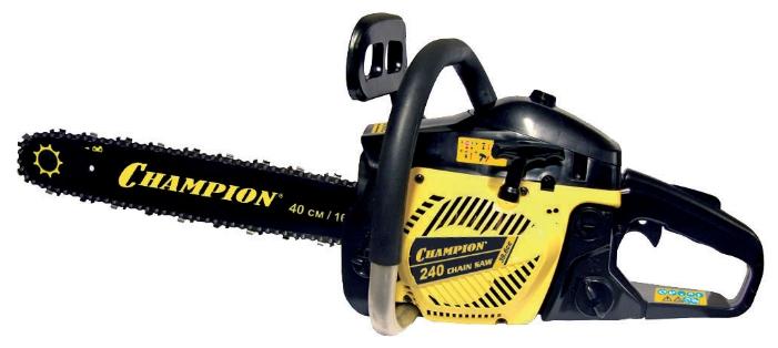Бензопила Champion 240-16Пилы<br><br><br>Тип: бензопила<br>Конструкция: ручная<br>Мощность, Вт: 1700 Вт<br>Объем двигателя: 39.6 куб. см<br>Функции и возможности: антивибрация, тормоз цепи