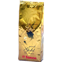 Кофе в зернах Saeco Gold 0,25 кг.Кофе, какао<br><br><br>Тип: кофе в зернах<br>Обжарка кофе: средняя<br>Состав: 100% Арабика<br>Дополнительно: 100% арабика, собранных с лучших плантаций, обладает бархатным вкусом. Эспрессо получается мягким и очень ароматным. Содержание кофеина в этом сорте невелико, можно пить кофе даже вечером.