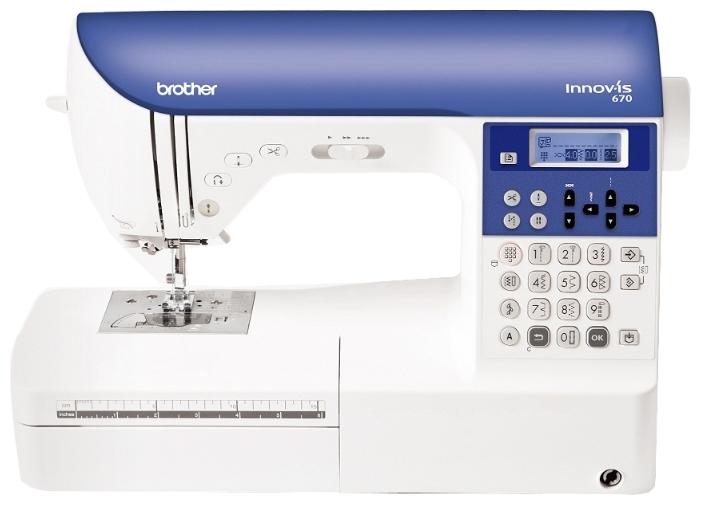 Швейная машина Brother INNOV-IS 670 (NV-670)Швейные машины<br><br><br>Тип: электронная<br>Тип челнока: ротационный горизонтальный<br>Количество швейных операций: 500<br>Выполнение петли: автомат<br>Число петель: 10<br>Максимальная длина стежка: 5.0 мм<br>Максимальная ширина стежка: 7.0 мм<br>Оверлочная строчка : есть<br>Потайная строчка : есть<br>Эластичная строчка : есть
