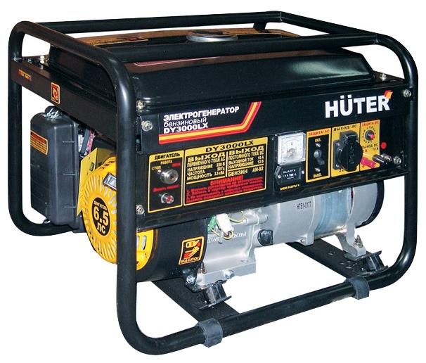 Электрогенератор Huter DY3000LXЭлектрогенераторы<br>Электрогенератор Huter DY3000LX является автономным источником электрической энергии бытовых параметров &amp;#40;220 В&amp;#41;, которую он вырабатывает, используя энергию механическую. Применяется для резервного, сезонного или аварийного потребления. Эта мини электростанция оснащена непосредственно электрическим генератором &amp;#40;мощность 2500 Вт&amp;#41;, который приводится в движение поршневым бензиновым четырехтактным двигателем внутреннего сгорания &amp;#40;с возможностью работы на газе&amp;#41;. Устройство имеет пусковой стартер, а так же элементы управления и безопасности....<br><br>Тип электростанции: бензиновая<br>Тип запуска: ручной, электрический<br>Число фаз: 1 (220 вольт)<br>Объем двигателя: 163 куб.см<br>Мощность двигателя: 6.5 л.с.<br>Тип охлаждения: воздушное<br>Объем бака: 12 л<br>Активная мощность, Вт: 2500<br>Защита от перегрузок: есть