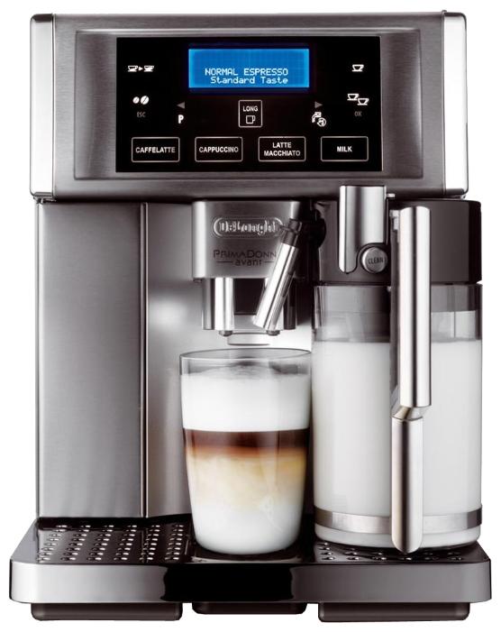 Кофемашина Delonghi ESAM 6704 MКофеварки и кофемашины<br>Кофемашина DELONGHI ESAM 6704 оснащена 4-строчным дисплеем с сенсорным управлением на котором отображается название напитка и его настройки. Благодаря наличию системы Автокапучино, вы сможете приготовить капучино, латте макиато, кофе латте и горячее молоко одним нажатием кнопки. Встроенная кофемолка имеет 13 степеней помола. Имеет функции: подогрева чашек, автоматической очистки от накипи, автоотключения, выбора объема порции, подачи горячей воды для чая, регулировки крепости кофе. Контейнер для жмыха на 14 порций с индикацией наполненности. Индикатор...<br><br>Тип используемого кофе: Зерновой\Молотый<br>Мощность, Вт: 1350<br>Объем, л: 1.8<br>Давление помпы, бар  : 15<br>Материал корпуса  : Металл<br>Емкость контейнера для зерен, г  : 250<br>Одновременное приготовление двух чашек  : Есть<br>Подогрев чашек  : Есть<br>Контейнер для отходов  : Есть<br>Съемный лоток для сбора капель  : Есть