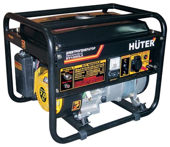 Электрогенератор Huter DY4000LXЭлектрогенераторы<br>Мини электростанция Huter DY4000LX удачно применяется в качестве автономного, резервного источника электроэнергии в местах, где постоянно или временно отсутствует централизованная подача электроэнергии &amp;#40;дачный дом, на строительной площадке и т.д.&amp;#41;. Незаменимой установка может оказаться и в случае аварийного отключения электроэнергии. Оснащенный приводом в виде поршневого бензинового двигателя внутреннего сгорания типа Huter 170F, расходующего 1,4 литра топлива в час, агрегат способен, посредствам вращаемого синхронного щеточного электрогенератора,...<br><br>Тип электростанции: бензиновая<br>Тип запуска: ручной, электрический<br>Число фаз: 1 (220 вольт)<br>Объем двигателя: 210 куб.см<br>Мощность двигателя: 7 л.с.<br>Тип охлаждения: воздушное<br>Объем бака: 15 л<br>Активная мощность, Вт: 2800<br>Защита от перегрузок: есть