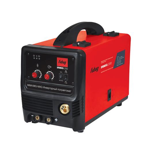 Сварочный аппарат FUBAG IRMIG 200 с горелкой FB 250_3 м (F004.0376 или 68 071)Сварочные аппараты<br>Универсальный сварочный полуавтомат IRMIG 200. предназначен для работы методом MIG/MAG-сварки и ММА-сварки. Имеет плавную регулировку сварочного тока и способен работать проволокой диаметром 0,6-1,0 мм. Евроразъем позволяет работать со съемными горелками. Это отличное решение как для автосервисов, так и для предприятий. <br><br>Аппарат комплектуется полным набором аксессуаров. <br><br>Преимущества: <br>- Высокоэффективная система воздушного охлаждения.<br>- Механизм автоматической подачи проволоки обеспечивает высокую производительность сварочных работ.<br>- Встроенная...<br><br>Тип: сварочный инвертор<br>Сварочный ток (MMA): 30-170 А<br>Количество фаз питания: 1<br>Напряжение холостого хода: 65 В<br>Тип выходного тока: постоянный<br>Мощность, кВт: 7.92<br>Продолжительность включения при максимальном токе: 20 %<br>Класс изоляции: H<br>Степень защиты: IP21S<br>Температурный диапазон работы: от -10 до 40 °C