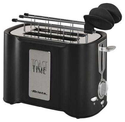 Тостер Ariete 124/1 Black Toast TimeТостеры и минипечи<br>Тостер Ariete 124/1 Black Toast Time – практичный и красивый тостер черного цвета, который отлично будет смотреться на любой кухне. Если вам нравится техника в классическом стиле, эта модель – то, что вам нужно. Она имеет эргономичную форму и поместится даже на крошечной кухне. Мощность прибора составляет 500 Вт, поэтому, не смотря на то, что он имеет всего 2 слота, вы быстро приготовите целую гору тостов. Простой в использовании, надежный и качественный, этот тостер станет отличным подарком. Пользоваться им – одно удовольствие.<br><br>Что умеет?<br>Купить Ariete 124/1 – сделать...<br><br>Тип: тостер<br>Мощность, Вт.: 500<br>Тип управления: Электронное<br>Количество отделений: 2<br>Количество тостов: 2