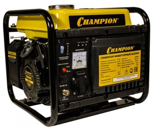 Электрогенератор Champion IGG1200Электрогенераторы<br><br><br>Тип электростанции: бензиновая, инверторная<br>Тип запуска: ручной<br>Число фаз: 1 (220 вольт)<br>Объем двигателя: 99 куб.см<br>Мощность двигателя: 2.6 л.с.<br>Тип охлаждения: воздушное<br>Объем бака: 5.5 л<br>Тип генератора: синхронный<br>Активная мощность, Вт: 1300
