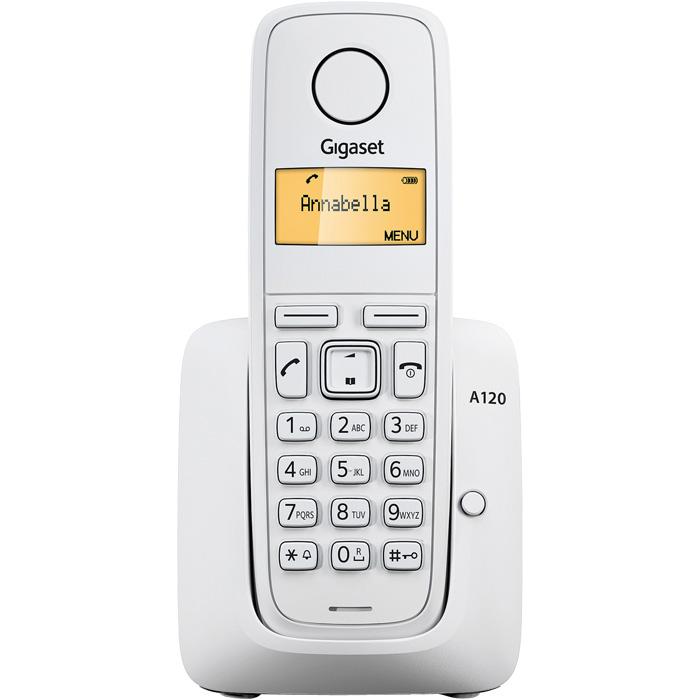 Радиотелефон Gigaset A120 WhiteРадиотелефон Dect<br>Gigaset a120 поменяет ваше мнение о телефонах.<br> <br> <br>  <br> <br> <br>Простой, но очень стильный и лаконичный дизайн, самый нужный функционал и надежность, который так славится фирма Gigaset, &amp;mdash; в этом весь радиотелефон Gigaset a120. Если бы нас попросили описать эту модель тремя словами, то они были бы именно такими: просто, функционально, надежно. Ведь самая главная задача радиотелефона — обеспечить качественную и удобную связь, а с этой задачей такой телефон справляется великолепно!<br> <br> <br>  <br> <br> <br>Еще один плюс — супердоступная цена, вам она точно понравится. Раньше вы думали,...<br><br>Тип: Радиотелефон<br>Количество трубок: 1<br>Рабочая частота: 1880-1900 МГц<br>Стандарт: DECT/GAP<br>Радиус действия в помещении / на открытой местност: 50/300<br>Возможность набора на базе: Нет<br>Проводная трубка на базе : Нет<br>Время работы трубки (режим разг. / режим ожид.): 200 /18<br>Полифонические мелодии: 10<br>Дисплей: на трубке (монохромный с подсветкой), 1 строка