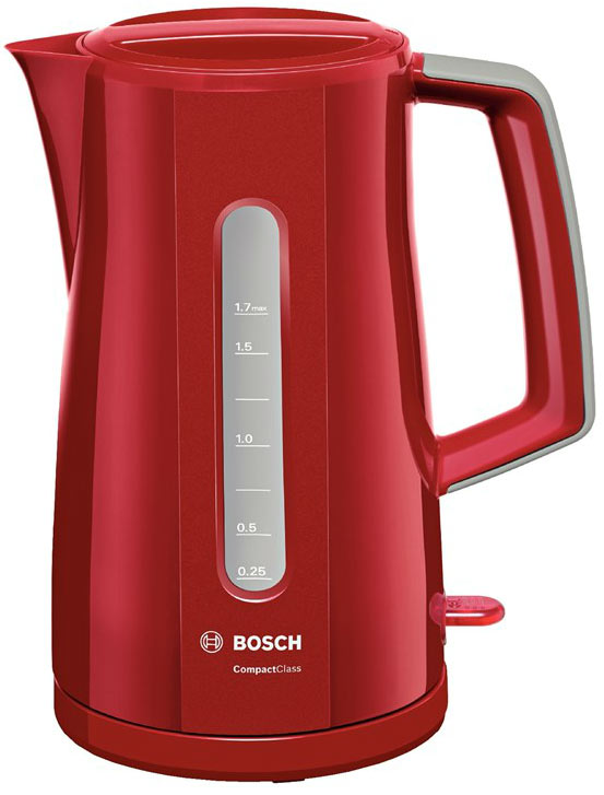 Электрочайник Bosch TWK 3A014Чайники и термопоты<br><br><br>Тип   : Электрочайник<br>Объем, л  : 1.7<br>Мощность, Вт  : 2400<br>Тип нагревательного элемента: Закрытая спираль<br>Покрытие нагревательного элемента  : Нержавеющая сталь<br>Материал корпуса  : пластик<br>Вращение на 360 градусов  : Есть<br>Автоотключение при закипании  : Есть<br>Индикация включения  : Есть<br>Индикатор уровня воды  : Есть