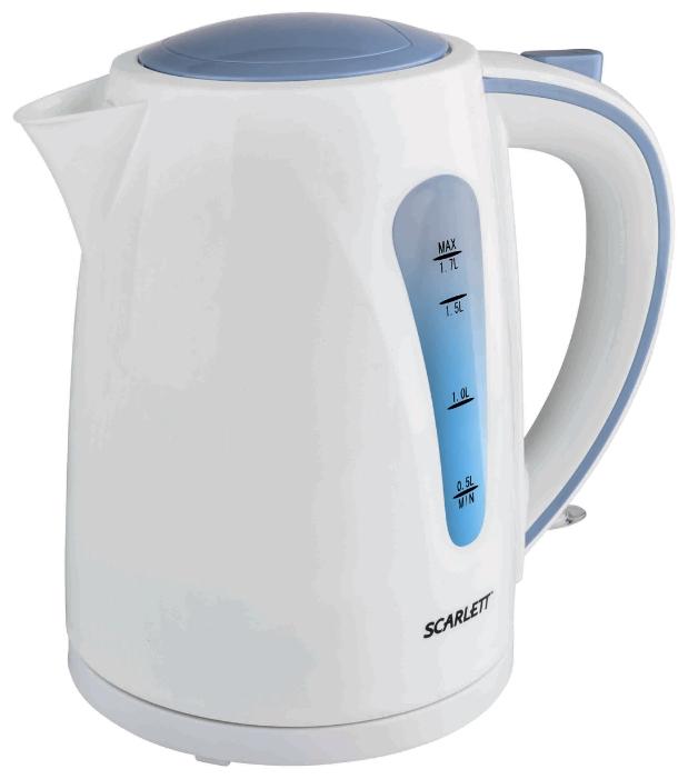 Электрочайник Scarlett SC-EK18P14Чайники и термопоты<br><br><br>Тип   : Электрочайник<br>Объем, л  : 1.7<br>Мощность, Вт  : 2200<br>Тип нагревательного элемента: Закрытая спираль<br>Материал корпуса  : пластик<br>Индикатор уровня воды  : Есть<br>Блокировка включения без воды  : Есть<br>Фильтр  : Есть<br>Отсек для хранения шнура: Есть