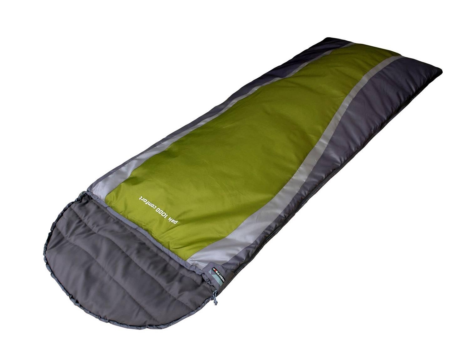 Спальный мешок High Peak Pak 1600  23310Спальные мешки<br>Теплый трехсезонный спальный мешок с двухслойным синтетическим наполнителем, двойной утепленной молнией и анатомическим капюшоном. Обеспечивает комфортный сон даже при &amp;#43;2°С. Позволяет не замерзнуть при -13°С. Снабжен внутренним карманом, тепловым воротником, молниями для состегивания и компрессионным мешком.<br><br>Отличный выбор для тех, кто собирается в поход, путешествие или на рыбалку. Не даст замерзнуть в холодную погоду. Идеально подходит для тех кому важен не только маленький вес и размер спального мешка, но еще и привычный комфорт.<br><br>Длина...<br><br>Тип: спальный мешок<br>Тип спального мешка: кокон<br>Капюшон: есть<br>Температура комфорта: + 9°С<br>Наружный материал: нейлон (Mini RipStop 210T)<br>Внутренний материал: полиэстер (230T P/S Micro)<br>Наполнитель: синтетика (Duraloft H1) 2 слоя