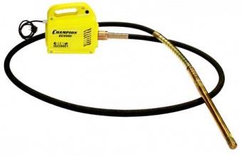 Вибратор глубинный Champion ECV550Виброплиты и вибротрамбовки<br>Глубинный электрический вибратор Champion ECV550 обеспечивает эффективное уплотнение бетонных смесей в процессе изготовления монолитных и железобетонных конструкций. Однофазный двигатель обеспечивает стабильную работу агрегата &amp;#40;время непрерывной работы - 15 минут, перерыв - 3-5 минут&amp;#41;. Модель работает с частотой вибрации 183 Гц. Гибкий вал с вибронаконечником приобретаются опционально &amp;#40;рекомендуемая длина вала составляет 4 м, диаметр наконечника - 28 мм, 32 мм, 38 мм или 45 мм&amp;#41;.<br><br>Тип: глубинный вибратор<br>Мощность двигателя, Вт: 550