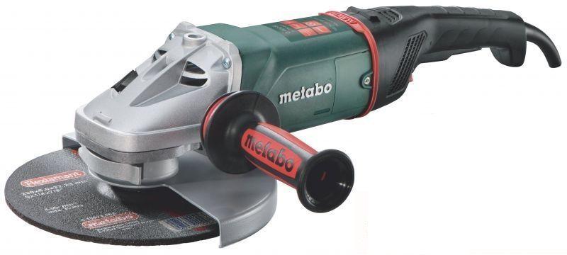 Угловая шлифмашина Metabo WE 24-230 MVT [606469000]Шлифовальные и заточные машины<br>- Двигатель Metabo Marathon стал еще выносливее и устойчивее к перегрузкам. Хороший запас по мощности позволяют использовать эту модель для решения большого круга серьезных задач.<br>- Уникальная защита от пыли - система разработанная инженерами Метабо уже много лет доказывает свою эффективность в разных ситуациях.<br>- Электронная система, которая в случае заклинивания диска в материале, останавлнивает вращения и, тем самым, предотвращает не только повреждение инструмента, но и помагает избажеть внезапного обратного удара.<br>- Болгарка Metabo WE 24-230 MVT, благодаря...<br>