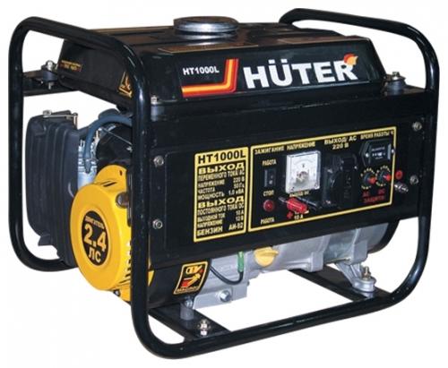 Электрогенератор Huter HT1000LЭлектрогенераторы<br>- Переносной генератор переменного тока 220 В и постоянного тока 12 В номинальной мощностью 1 кВт;<br>- Основан на преобразовании механической энергии поршня двигателя внутреннего сгорания Huter 152F в электрическую энергию;<br>- Охлаждение двигателя происходит воздушным способом;<br>- Эффективно работает даже при экстремальных температурах – от -20°С до 40°С;<br>- Работает на неэтилированном бензине АИ-92 или бытовом сжиженном баллонном газе – пропане или пропан-бутане при условии подключения специальной системы питания;<br>- На одном бензобаке емкостью 4,8 литра способен...<br><br>Тип электростанции: бензиновая<br>Тип запуска: ручной<br>Число фаз: 1 (220 вольт)<br>Объем двигателя: 163 куб.см<br>Мощность двигателя: 2.4 л.с.<br>Тип охлаждения: воздушное<br>Расход топлива: 0.55 л/ч<br>Объем бака: 4.8 л<br>Активная мощность, Вт: 1000<br>Защита от перегрузок: есть