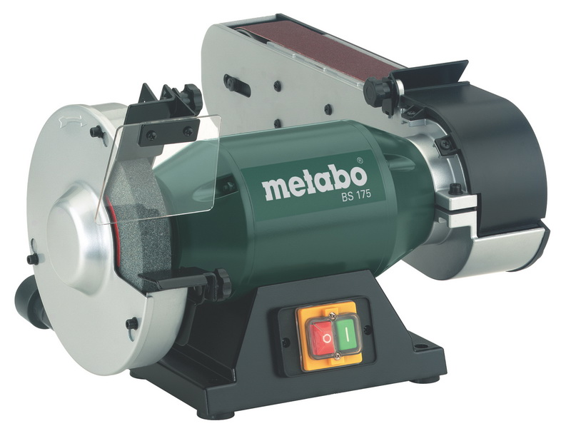 Точильный станок Metabo BS 175 [601750000]Шлифовальные и заточные машины<br>Комплект поставки:<br>- Metabo BS 175<br>- шлифовальный диск из нормального корунда 60 N<br>- тканевая шлифовальная лента К 60, 1020 х 50 мм<br>- искрозащитный щиток<br>- накладка для заготовки<br>- шестигранный ключ<br> <br>Особенности модели:<br>- Безопасность - Большое стекло защищает глаза от летящих искр при использовании точила Metabo BS 175.<br>- Удобство работы - Кронштейн шлифовальной ленты может поворачиваться на 90 градусов.<br>- Простота контроля - Интуитивно понятная панель управления с крупными кнопками.<br>- Экономия времени - Для регулировки упора заготовки не требуется дополнительный...<br>