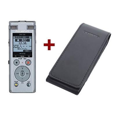 Диктофон Olympus DM-720 + CS-150 Soft CaseДиктофоны<br>Элегантный серебристый корпус, простой и понятный интерфейс и идеальное качество звука &amp;#40;благодаря системе TRESMIC&amp;#41; — все это делает ваш DM-720 незаменимым спутником для всех деловых встреч.<br><br>- Функция воспроизведения голоса<br>Используя функцию воспроизведения голоса, вы будете пропускать фрагменты записи, где нет звука, и прослушивать только те, в которых есть речь. Такая возможность позволяет эффективнее использовать свое время. Например, если речь звучит только в 70% записи, вы закончите работать с часовым аудиофайлом уже через 40 минут.<br><br>- Удобная...<br><br>Тип: Цифровой диктофон<br>Тип носителя: Flash<br>Обьём встроенной памяти Mb: 4000<br>Разём для карт памяти: micro Secure Digital<br>Встроенный динамик: есть