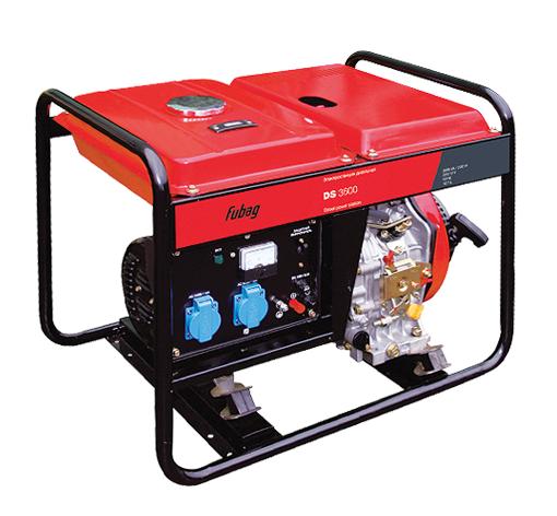 Электрогенератор FUBAG DS 3600Электрогенераторы<br>Простой и экономичный резервный источник энергии при необходимости обеспечения бесперебойного электропитания на стройке, в небольшом летнем доме в условиях частого отключения центрального электроснабжения.<br><br>Для простого и лёгкого запуска, четырёхтактный дизельный двигатель электростанции снабжен системой декомпресии, которая при запуске увеличивает время открытия клапана. Это существенно облегчает ручной запуск электростанции, делает его быстрым и удобным. <br><br>Преимущества:<br>- профессиональный OHV-двигатель FUBAG;<br>- система AVR;<br>- система защитного...<br><br>Тип электростанции: дизельная<br>Тип запуска: ручной<br>Число фаз: 1 (220 вольт)<br>Тип охлаждения: воздушное<br>Объем бака: 12.5 л<br>Класс защиты генератора: IP23<br>Активная мощность, Вт: 2700<br>Защита от перегрузок: есть