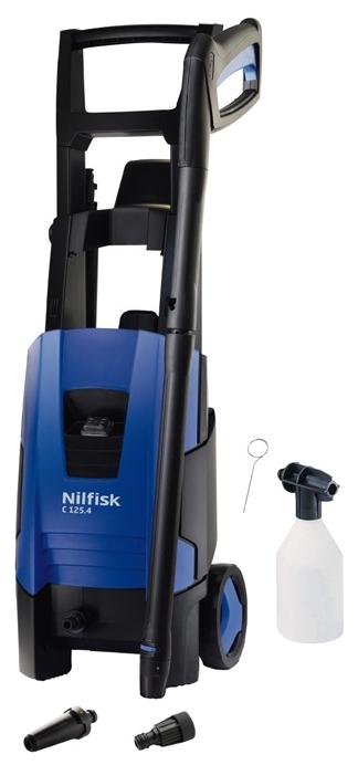 Мойка высокого давления Nilfisk Compact 125.4-6Мойки высокого давления<br><br><br>Давление, Бар: 125<br>Производительность, л/час: 520<br>Материал корпуса насоса: алюминий<br>Потребляемая мощность: 1.7 кВт·ч<br>Напряжение сети: 220/230 В<br>Насадки: стандартная<br>Шланг ВД: способ хранения: держатель, длина 6 м