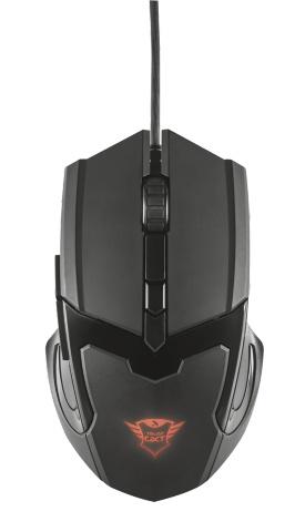 Компьютерная мышь Trust GXT 101 Gaming Mouse Black USB (21044)Компьютерные мыши<br>Trust GXT 101 — компактная игровая мышь 4800 DPI &amp;#40;6 кнопок&amp;#41; с подсветкой разных цветов.<br><br>Особенности:<br>- Кнопка выбора скорости &amp;#40;600-4800 DPI&amp;#41;<br>- Верхние прорезиненные накладки для удобного удерживания мыши<br>- Логотип с подсветкой, меняющей цвета<br>- Эргономичный и удобный дизайн<br>- 6 кнопок &amp;#40;правая, левая, скролл, DPI, 2 боковые для выстрелов или интернет-серфинга&amp;#41;<br>