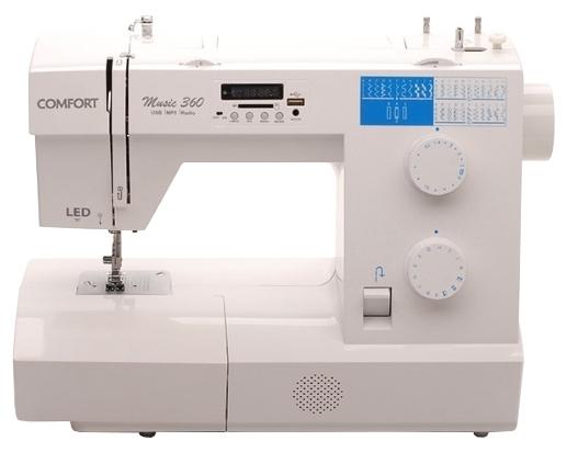 Швейная машина Comfort Music 360Швейные машины<br><br><br>Тип: электромеханическая<br>Тип челнока: вертикальный (ротационный)<br>Количество швейных операций: 34<br>Выполнение петли: автомат<br>Число петель: 1<br>Максимальная длина стежка: 4 мм<br>Максимальная ширина стежка: 5.0 мм<br>Потайная строчка : есть<br>Эластичная строчка : есть<br>Эластичная потайная строчка: есть