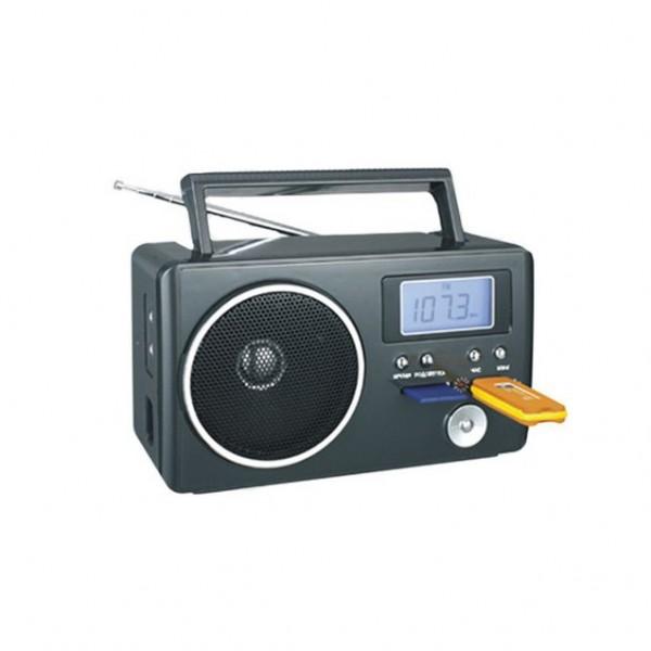 Радиоприемник Сигнал electronics БЗРП РП-204Радиобудильники, приёмники и часы<br>- Звуковая система&amp;nbsp;&amp;nbsp;0.15 Вт<br>- Регулятор громкости <br>- ЖК-экран&amp;nbsp;&amp;nbsp;<br>- Подсветка синяя<br>- Питание&amp;nbsp;&amp;nbsp;от батарей, от сети<br>- Тип батареек&amp;nbsp;&amp;nbsp;4 х R20<br><br>Дополнительно&amp;nbsp;&amp;nbsp;<br>USB, воспроизведение МР3 с USB и SD, вход AUX, поддержка MP3, разъем для наушников, слот для SD/MMC<br><br>Расширенные диапазоны принимаемых частот:<br>- УКВ &amp;#40;FM&amp;#41;: 88.0 - 108.0 МГц<br>- СВ &amp;#40;AM&amp;#41;: 54.0 - 160.0 КГц<br>- КВ &amp;#40;SW&amp;#41;: 8.0 - 17.0 МГц<br>Телескопическая антенна<br>Отключаемая голубая подсветка дисплея<br>Наличие разъемов USB, SD, AUX и наушников<br>Функции управления при воспроизведении с USB/SD: <br>- предыдущий трек<br>- следующий трек<br>...<br><br>Тип: Радиоприемник<br>Тип тюнера: Аналоговый<br>Часы: Есть<br>Встроенный будильник  : Нет