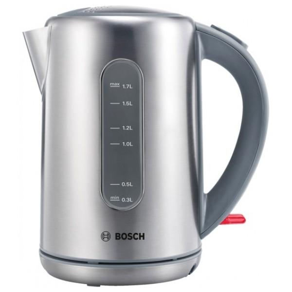 Электрочайник Bosch TWK 7901Чайники и термопоты<br><br><br>Тип   : Электрочайник<br>Объем, л  : 1.7<br>Тип нагревательного элемента: Закрытая спираль<br>Материал корпуса  : металл<br>Индикация включения  : Есть<br>Индикатор уровня воды  : Есть<br>Отсек для хранения шнура: Есть