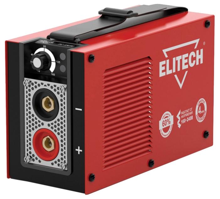 Сварочный аппарат Elitech ИС 180МСварочные аппараты<br>ELITECH ИС 180М - это однофазный сварочный инвертор для ручной дуговой сварки. Благодаря возможности работы при пониженном напряжении используется в частных домах, в удаленных населенных пунктах, гаражах и т.д. Малый вес и габариты устройства, а так же предусмотренный в его конструкции наплечный ремень позволяют без лишних усилий проводить сварку различных металлических деталей на высоте. Данная модель отличается низкой мощностью потребления электроэнергии - 3.5 кВт. Степень защиты от пыли и влаги - IP21S. Нагревостойкость изоляции до 180 С - класс Н.<br><br>Тип: сварочный инвертор<br>Сварочный ток (MMA): 10-160 А<br>Напряжение на входе: 154-253 В<br>Количество фаз питания: 1<br>Напряжение холостого хода: 85 В<br>Тип выходного тока: постоянный<br>Мощность, кВт: 3.50<br>Продолжительность включения при максимальном токе: 60 %<br>Диаметр электрода: 1.60-4 мм<br>Класс изоляции: H