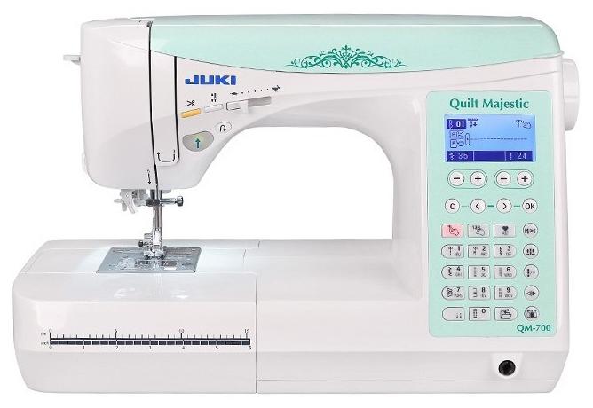Швейная машина Juki Quilt Majestic QM-700Швейные машины<br>Швейная машинка Juki Majestic QM-700 выполняет 400 операций и справляется с любыми типами тканей: как со сверхлегкими, так и со сверхтяжелыми. Швейная машинка Juki Majestic QM-700 предназначена для использования в домашних условиях, особенно для выполнения декоративных и квилтинговых работ.<br><br>Максимальная скорость шитья 650 ст/мин. Отличительной особенностью швейной машины явлеятся система двойной подачи ткани, ЖК дисплей, возможность шитья без педали, предупреждение об ошибках, и увеличенная рабочая поверхность. Функция случайного стежка предлагает вам приспособление...<br>