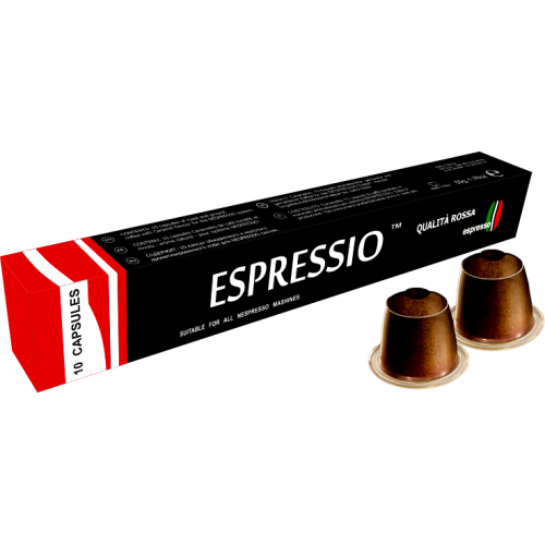 Кофе в капсулах Espressio RossaКофе и чай<br>Кофе Rossa&amp;nbsp;&amp;nbsp;можно порекомендовать ценителям крепкого настоя с насыщенным вкусом. В состав этой смеси входит два сорта зерен - бразильская арабика и африканская робуста. Их подвергают обжарке средней степени. В результате кофе Rossa дает напиток, сочетающий благородную горчинку и тона тропических фруктов. Наличие робусты обеспечивает образование обильной стойкой пенки. Кофе обладает в меру крепким вкусом, пенка высоко поднимается во время приготовления, заслуга этому – наличие робусты &amp;#40;которой в напитке 30%&amp;#41;, отлично подходит для эсп...<br><br>Тип: кофе в капсулах<br>Дополнительно: крепость - 8