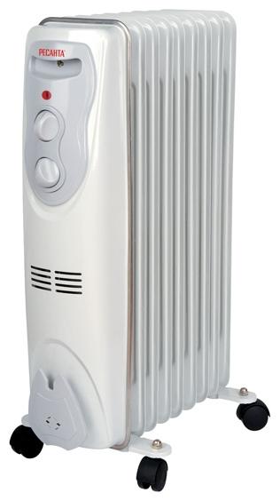 Масляный радиатор Ресанта ОМ-9НОбогреватели<br><br><br>Тип: масляный радиатор<br>Максимальная мощность обогрева: 2000 Вт<br>Количество секций: 9<br>Каминный эффект : есть<br>Управление: механическое<br>Регулировка температуры: есть<br>Термостат: есть<br>Выключатель со световым индикатором: есть<br>Напольная установка: есть<br>Отделение для шнура : есть