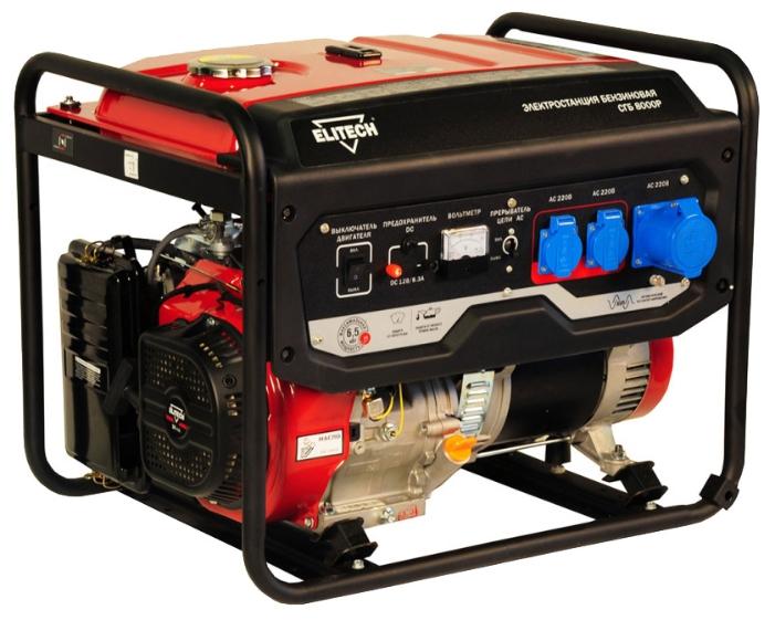 Электрогенератор Elitech СГБ 8000ЕЭлектрогенераторы<br><br><br>Тип электростанции: бензиновая<br>Тип запуска: ручной, электрический<br>Число фаз: 1 (220 вольт)<br>Объем двигателя: 420 куб.см<br>Мощность двигателя: 16 л.с.<br>Тип охлаждения: воздушное<br>Объем бака: 25 л<br>Активная мощность, Вт: 6000<br>Защита от перегрузок: есть