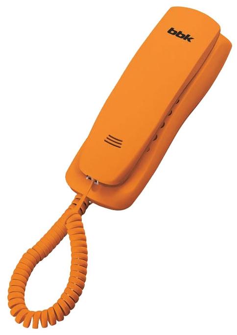 Проводной телефон BBK BKT-105 RU OrangeПроводные телефоны<br><br><br>Тип: проводной телефон<br>Память (количество номеров): нет<br>Однокнопочный набор (количество кнопок): нет<br>Переадресация (Flash): нет<br>Повторный набор номера: есть<br>Тональный набор: есть<br>Кнопка выключения микрофона: есть<br>Возможность настенной установки: есть