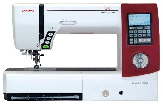 Швейная машина Janome Memory Craft 7700 QCP Horizon (MC-7700 QCP)Швейные машины<br><br><br>Тип: электронная<br>Тип челнока: ротационный горизонтальный<br>Количество швейных операций: 250<br>Выполнение петли: автомат<br>Число петель: 10<br>Максимальная длина стежка: 5.0 мм<br>Максимальная ширина стежка: 7.0 мм<br>Оверлочная строчка : есть<br>Потайная строчка : есть<br>Эластичная строчка : есть