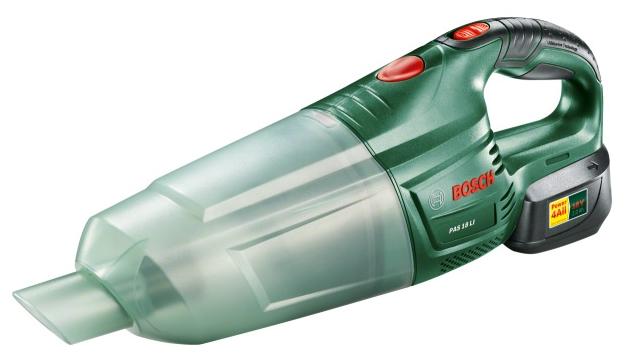 Пылесос Bosch PAS 18 LI Set [06033B9000]Пылесосы<br>Универсальный аккумуляторный ручной пылесос с высокой мощностью всасывания<br><br>Потребительские преимущества<br>- Мобильность, легкость и эффективность — с мощным аккумулятором 18 В и высокой производительностью всасывания<br>- Постоянная готовность к работе благодаря литий-ионной технологии — отсутствие саморазряда и эффекта памяти<br>- Широкий набор принадлежностей для различного применения<br><br>Дополнительные преимущества<br>- Практичная удлинительная трубка для исключительно комфортной очистки полов<br>- Комфортное удаление пыли в труднодоступных местах...<br><br>Тип: Пылесос<br>Потребляемая мощность, Вт: 18<br>Тип уборки: Сухая<br>Регулятор мощности на корпусе: Нет<br>Пылесборник: Циклонный фильтр<br>Емкостью пылесборника : 0.65 л