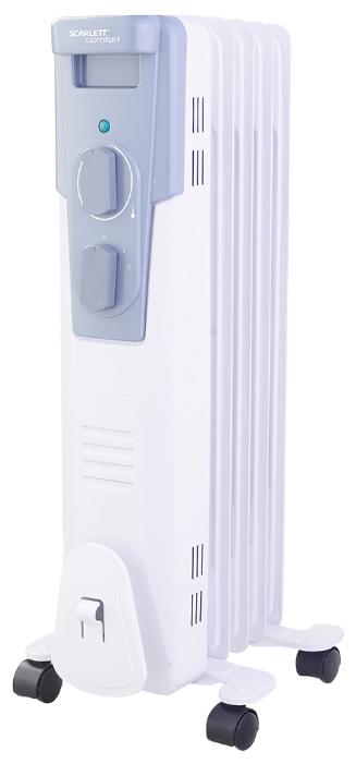 Масляный радиатор Scarlett SC 41.1005Обогреватели<br>- Классический типоразмер секций<br>- Высококачественный термостат на основе медного сплава<br>- Ступенчатое переключение мощности нагрева<br>- 5 секций<br>- Полноразмерная длина сетевого шнура<br>- Отсек для хранения шнура питания<br>- Простота установки – не требует монтажа<br>- Удобная ручка для перемещения<br>- Продуманная эргономика управления - максимальная простота управления нагревом<br><br>Тип: масляный радиатор<br>Максимальная мощность обогрева: 1000 Вт<br>Количество секций: 5<br>Каминный эффект : есть<br>Управление: механическое<br>Регулировка температуры: есть<br>Термостат: есть<br>Выключатель со световым индикатором: есть<br>Отделение для шнура : есть<br>Колеса для перемещения: есть