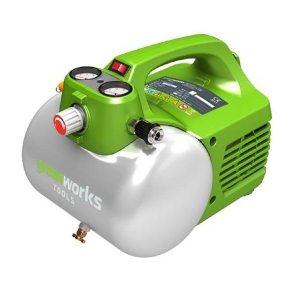 Компрессор GreenWorks GAC6L 4101302Воздушные компрессоры<br>Электрический, проводной, воздушный компрессор GreenWorks GAC6L. <br>Оснащён ручкой регулятора давления для регулировки количества воздуха, поступающего через шланг. <br><br>Безмасленный насос снижает потребность в техническом обслуживании. <br>Воздушный компрессор оснащен быстроразъемным соединением, расположенным на боковой стороне устройства. <br>Имеет 2л воздушный резервуар и 2 манометра &amp;#40;регулировочный манометр давления и манометр давления в резервуаре&amp;#41;. <br>На регулировочном манометре давления отображается текущее давление в трубопроводе. Это давление...<br>