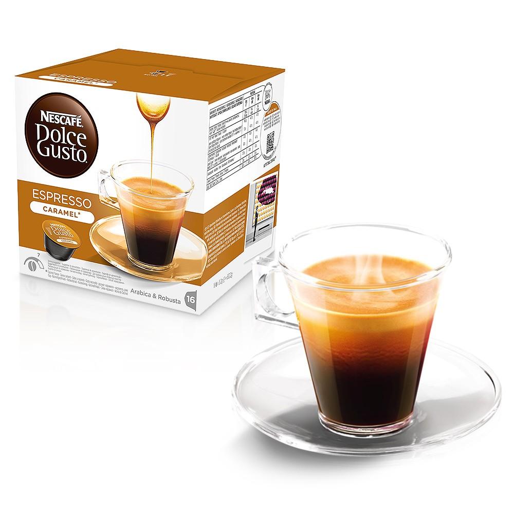 Кофе в капсулах Nescafe Dolce Gusto эспрессо со вкусом карамелиКофе, какао<br><br><br>Тип: кофе в капсулах<br>Дополнительно: неожиданное сочетание двух противоположностей – тающая во рту карамель добавляет сладкую нотку крепкому эспрессо. Насыщенный и дразнящий, этот кофе идеально подойдет в качестве десерта или станет Вашим традиционным утренним эспрессо для хорошего начала дня.  Добавьте сладкую ноту в свой день и насладитесь удивительным и неожиданным сочетанием вкуса и крепости.