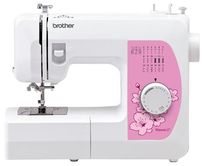 Швейная машина Brother Hanami 17Швейные машины<br><br><br>Тип: электромеханическая<br>Количество швейных операций: 17<br>Выполнение петли: полуавтомат<br>Потайная строчка : есть<br>Эластичная строчка : есть<br>Эластичная потайная строчка: есть<br>Кнопка реверса: есть<br>Рукавная платформа: есть<br>Нитевдеватель: есть