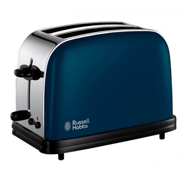 Тостер Russell Hobbs 18958-56 COLOURS BLUEТостеры и минипечи<br><br><br>Тип: тостер<br>Мощность, Вт.: 1100<br>Тип управления: Механическое<br>Количество отделений: 2<br>Количество тостов: 2