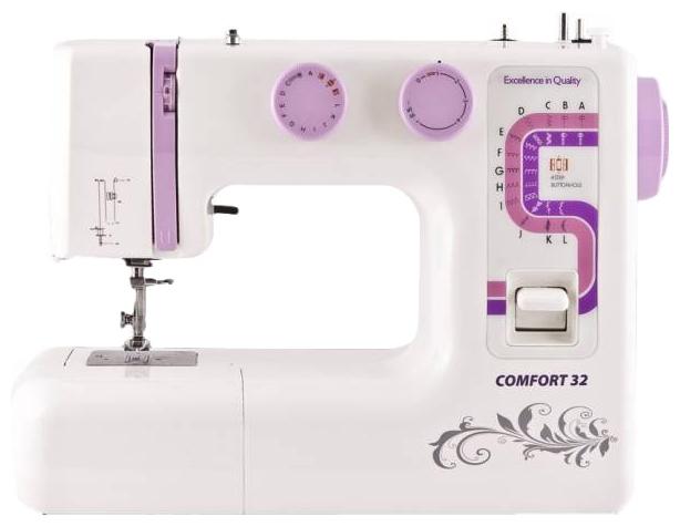 Швейная машина Comfort 32Швейные машины<br><br><br>Тип: электромеханическая<br>Тип челнока: вертикальный (ротационный)<br>Вышивальный блок: нет<br>Количество швейных операций: 25<br>Выполнение петли: полуавтомат<br>Максимальная длина стежка: 4 мм<br>Максимальная ширина стежка: 5.0 мм<br>Оверлочная строчка : есть<br>Потайная строчка : есть<br>Эластичная строчка : есть