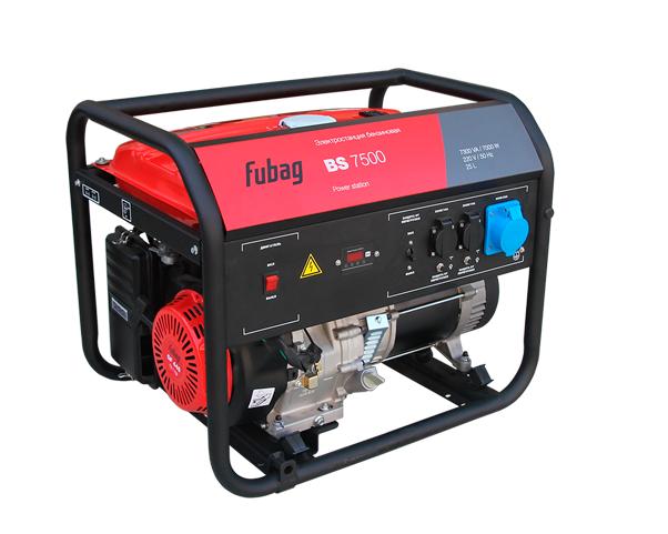 Электрогенератор FUBAG BS 7500Электрогенераторы<br>- Высокая мощность <br>Электростанция для аварийного или мобильного электроснабжения, подходит для работы в мастерской или на стройке. Станция оснащена автоматическим декомпрессором, облегчающим запуск. Рама станции имеет подготовку для установки опционального транспортировочного комплекта Fubag: Колеса и ручки, шифр 568286. Для каждой розетки установлен индивидуальный предохранитель. <br><br>Оборудована мощным и экономичным профессиональным OHV-двигателем FUBAG. Номинальная электрическая мощность составляет 7 кВт, этого достаточно для работы бытовых электроприборов,...<br><br>Тип электростанции: бензиновая<br>Тип запуска: ручной<br>Число фаз: 1 (220 вольт)<br>Мощность двигателя: 15 л.с.<br>Тип охлаждения: воздушное<br>Объем бака: 25 л<br>Активная мощность, Вт: 7000<br>Защита от перегрузок: есть