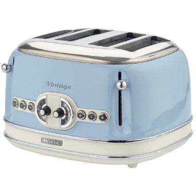 Тостер Ariete Vintage 156/05Тостеры и минипечи<br>Выполненный в стильном ретро-дизайне тостер 156 серии Vintage от итальянской компании Ariete — это производительный тостер мощностью 1600 Вт. Особенностью рассматриваемой модели является возможность одновременного поджаривания четырех ломтиков хлеба, при этом степень прожарки регулируется по схеме 2 х 2.<br><br>Вы сможете выбрать 1 из 6 уровней прожарки, и заручитесь поддержкой функции разморозки или подогрева ранее зажаренного тоста. Система центрирования и автоматический выброс хлебцев позволят ежедневно наслаждаться ароматными и хрустящими ломтиками,...<br><br>Тип: тостер<br>Мощность, Вт.: 1600<br>Тип управления: Механическое<br>Количество отделений: 4<br>Количество тостов: 4